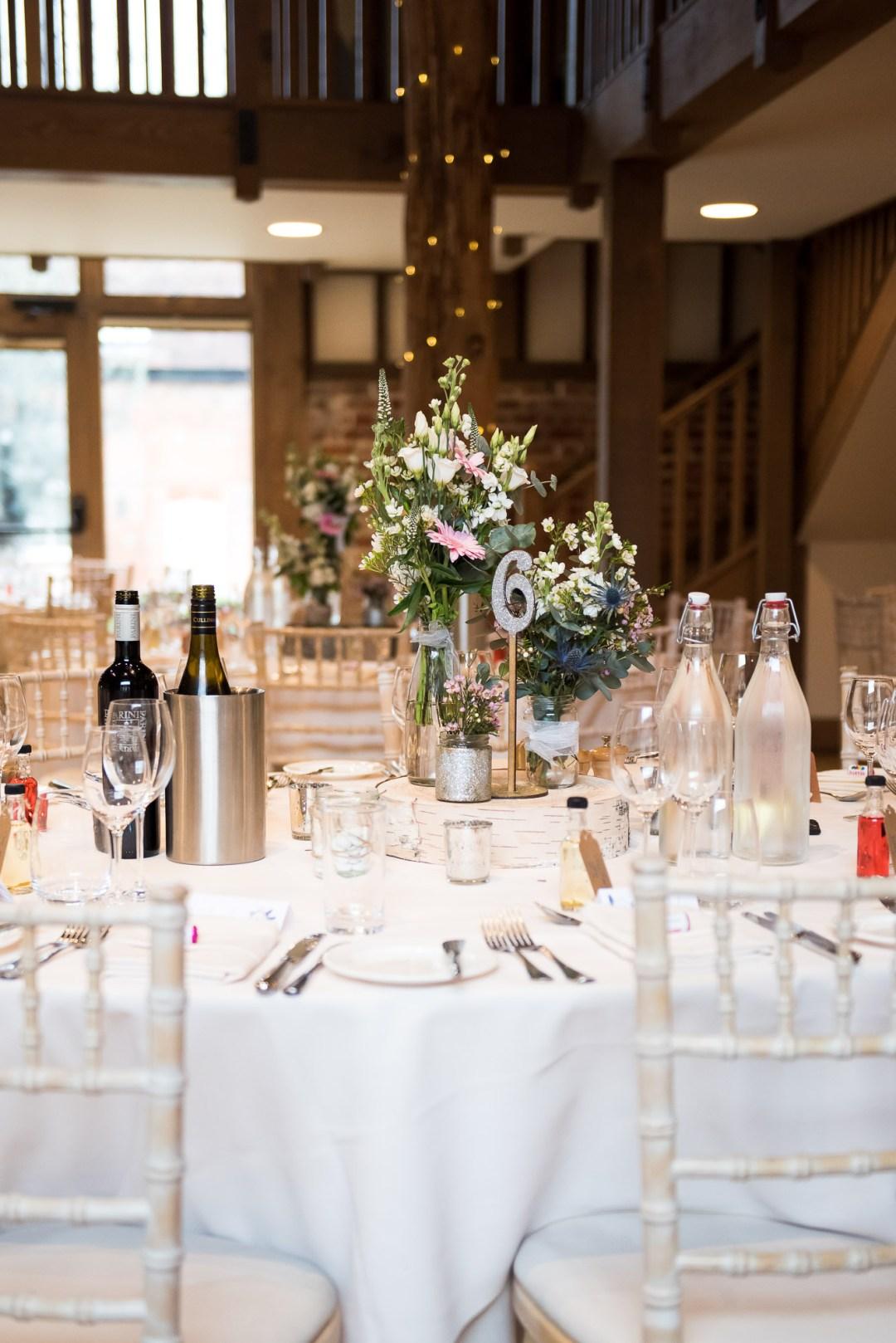 table decor Gaynes Park barn wedding