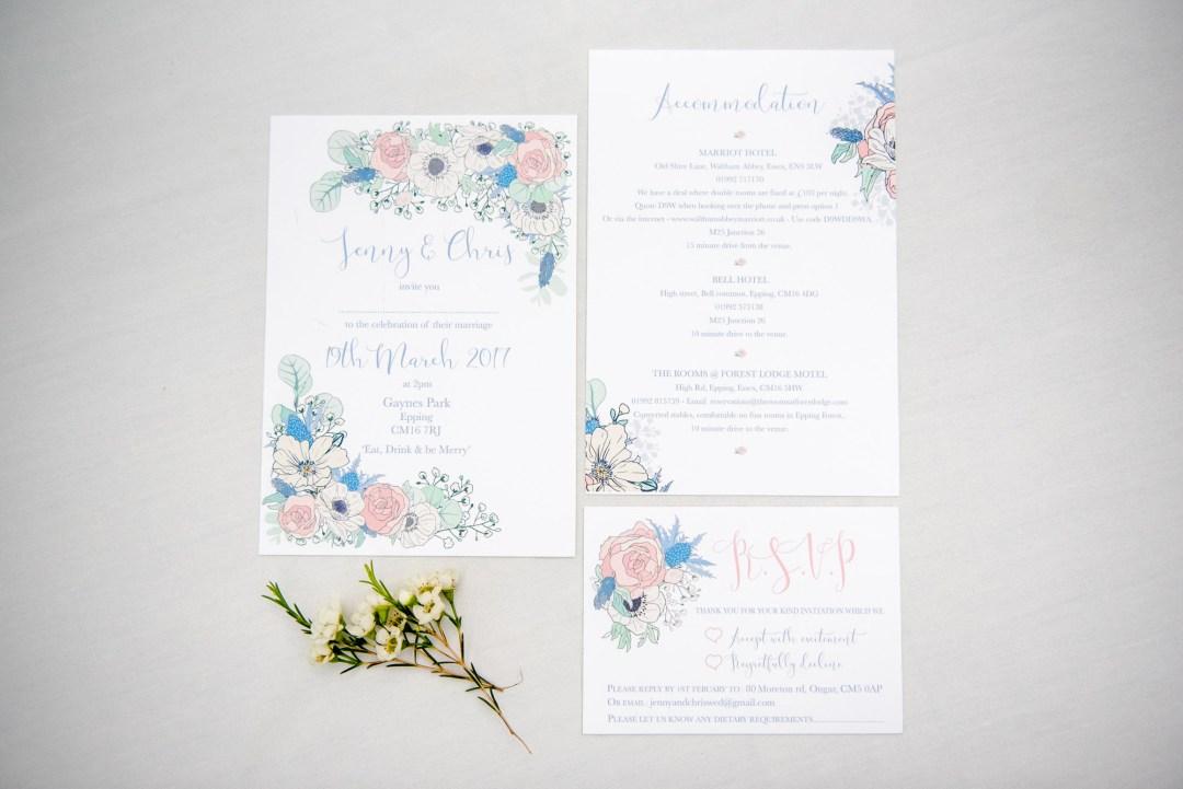 fresh floral wedding stationary Essex