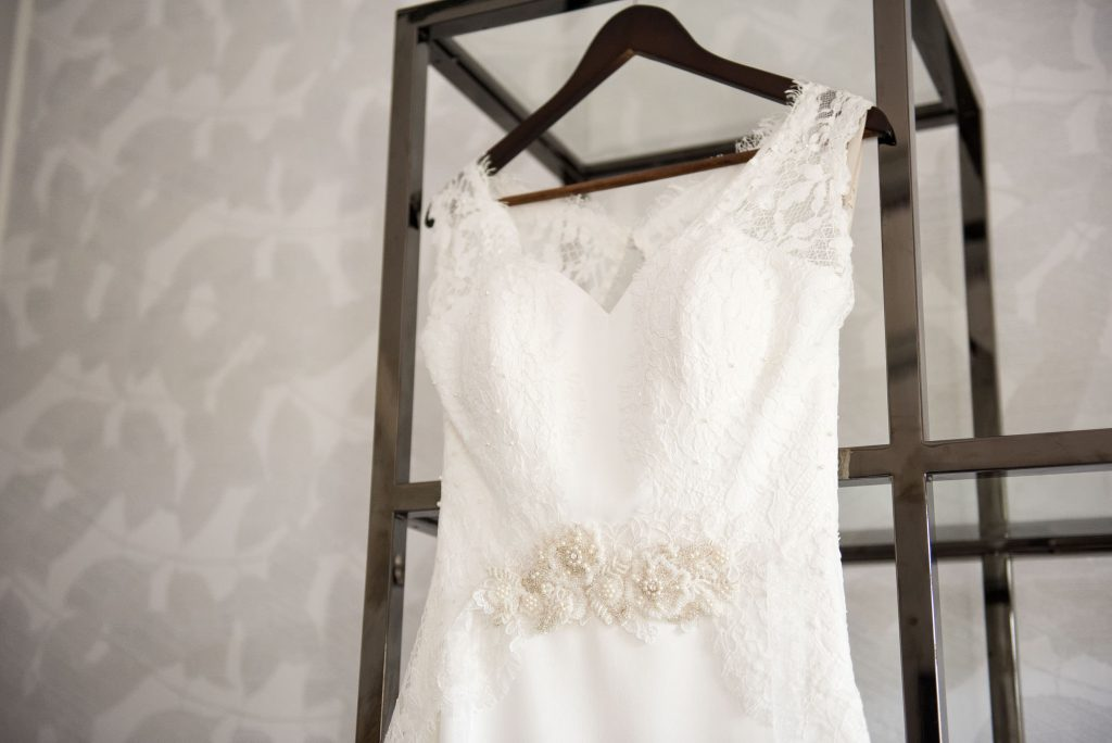 Beautiful lace detail on classic wedding dress