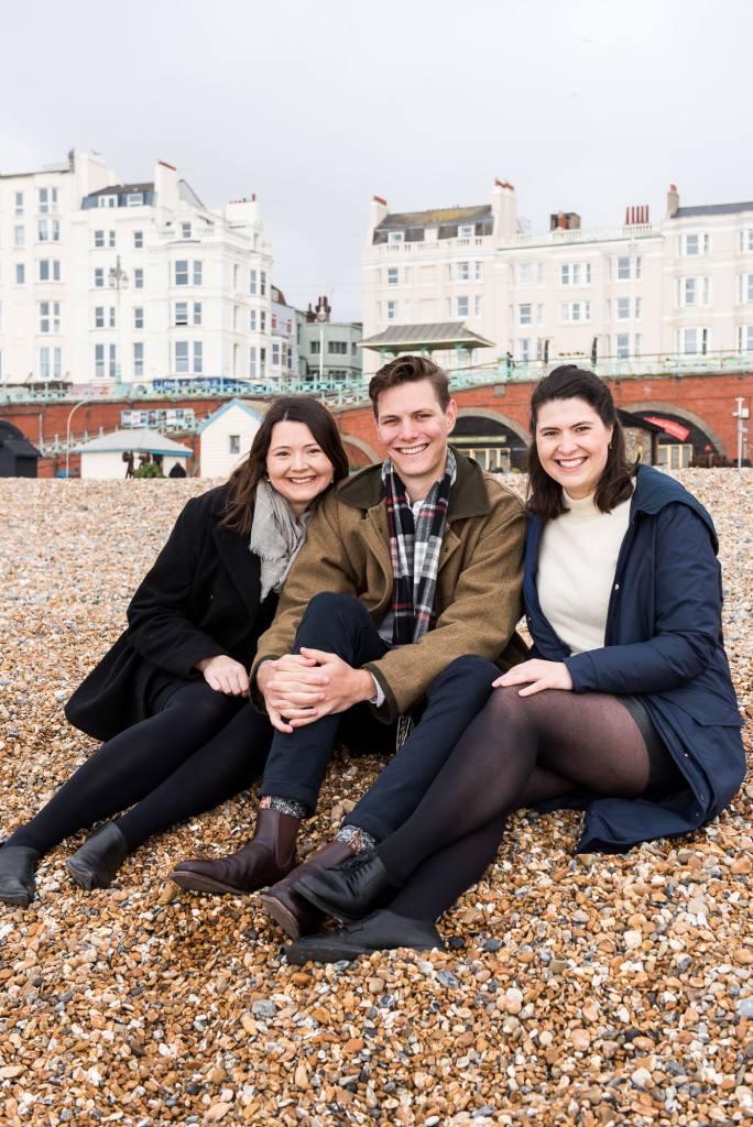 Sibling portrait on Brighton beach