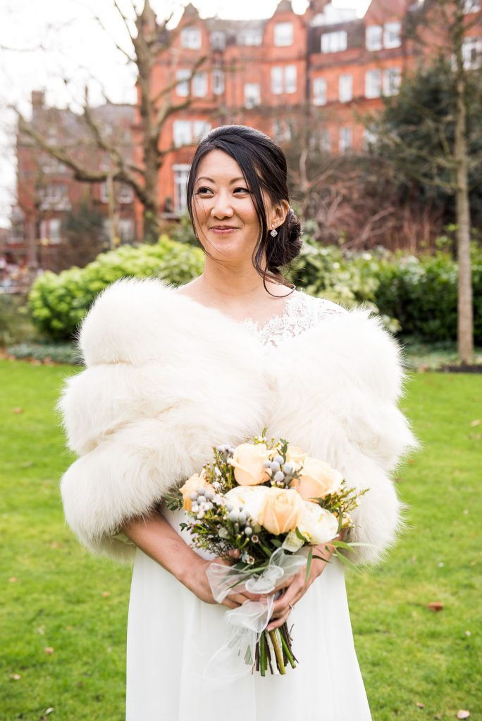 Beautiful bride with bouquet London wedding