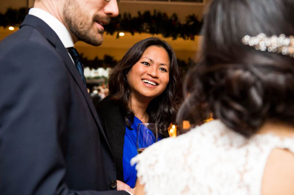Candid moments during drinks reception // London wedding photographer