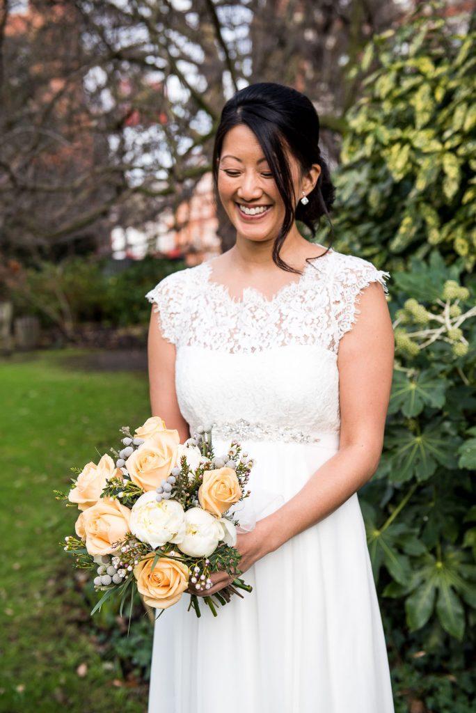 Lace bride London wedding portrait