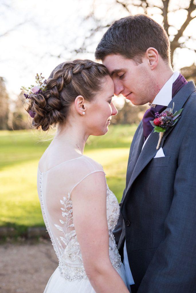 Ashridge House Wedding. Natural Wedding Photography. Golden hour evening light portrait.