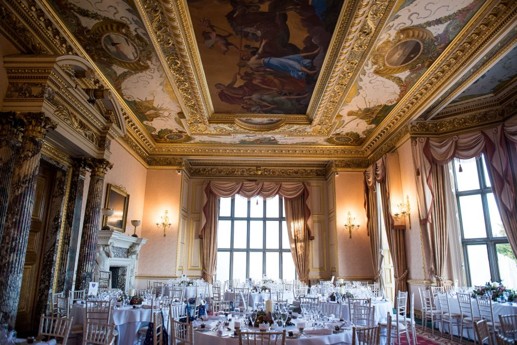 Ashridge House Wedding. Natural Wedding Photography. Grand hall for the wedding breakfast reception.