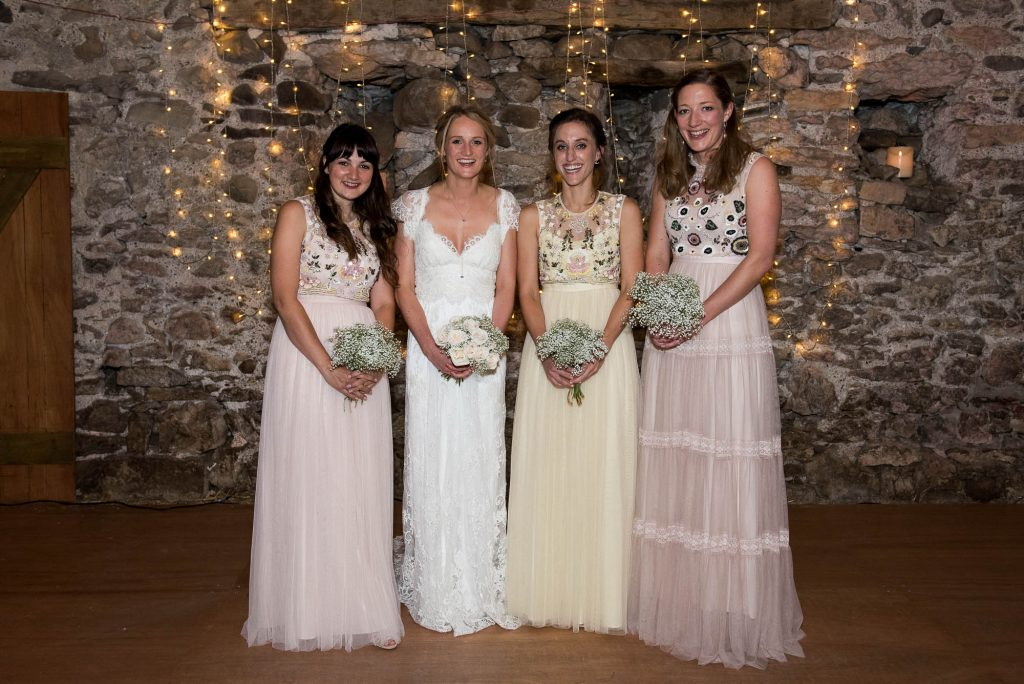 Park House Barn, Rustic Barn Wedding, Anna Campbell Bride with Bridesmaids in Needle and Thread Dresses