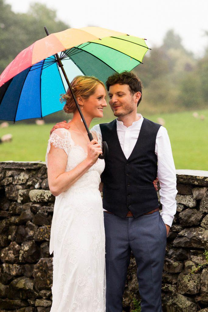 Park House Barn, Rustic Barn Wedding, Anna Campbell Bride and Groom Couples Portrait with Rainbow Umbrella