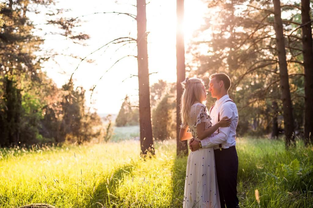 Swedish Wedding - Kroksta Gard Wedding - Woodland Wedding Couples Portraits at Sunset