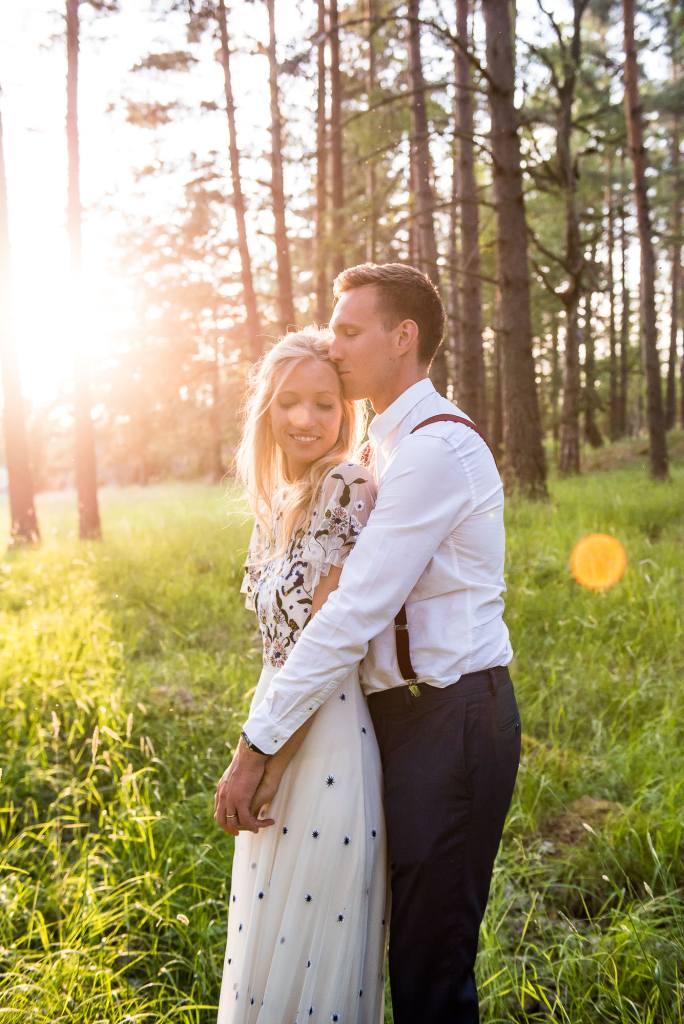 Swedish Wedding - Kroksta Gard Wedding - Natural and Candid Couples Portraits at Sunset
