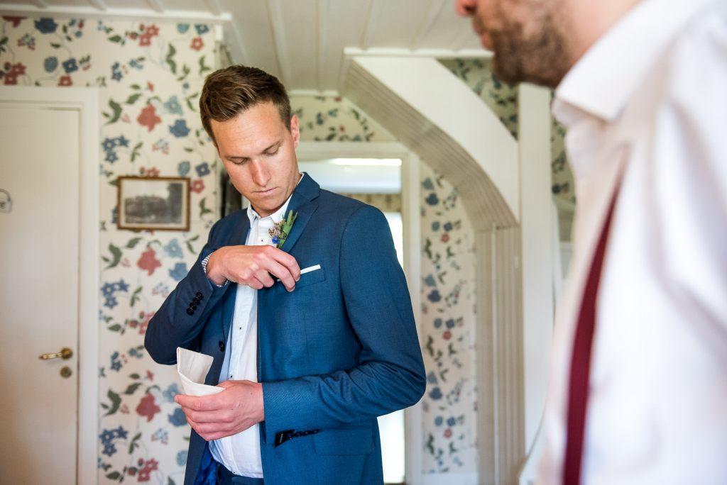 Swedish Wedding - Kroksta Gard Wedding - Candid Groom Prep Photography