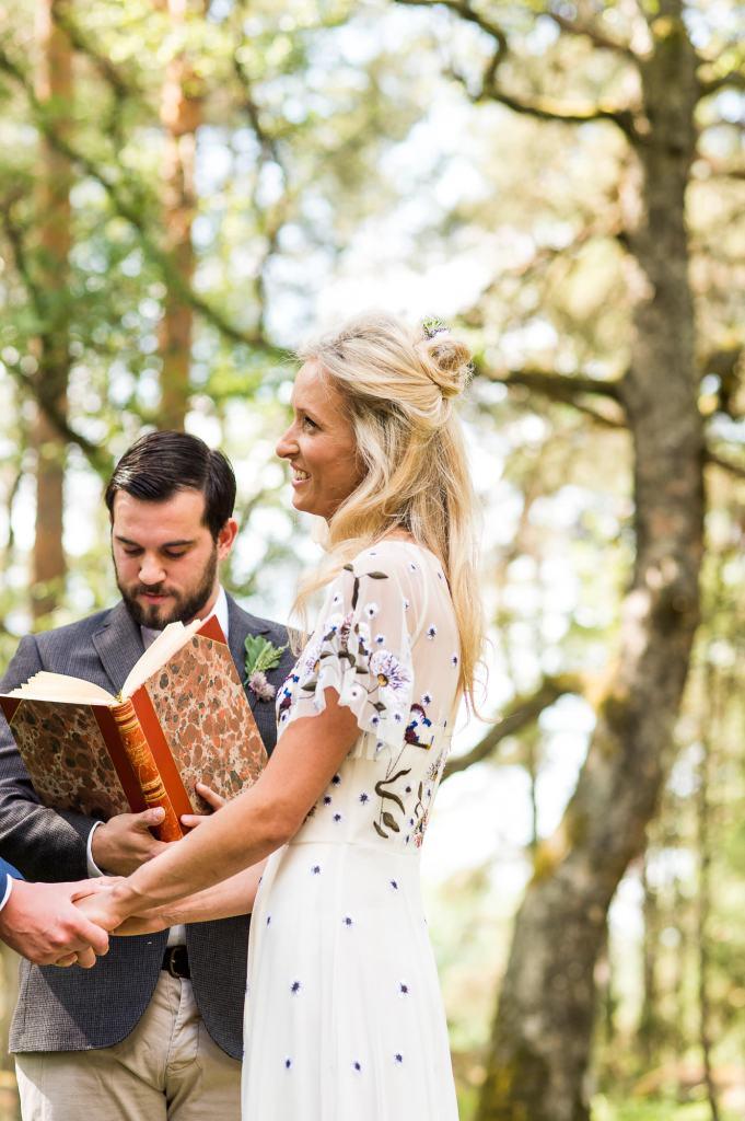 Swedish Wedding - Kroksta Gard Wedding - Gorgeous Boho French Connection Bride in Woodland Wedding Ceremony