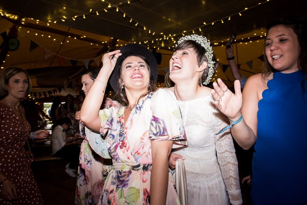 Inkersall Grange Farm Wedding - Same Sex Wedding Photography - Boho Brides Dancing With Bridesmaid Energetic Dance Floor Photography