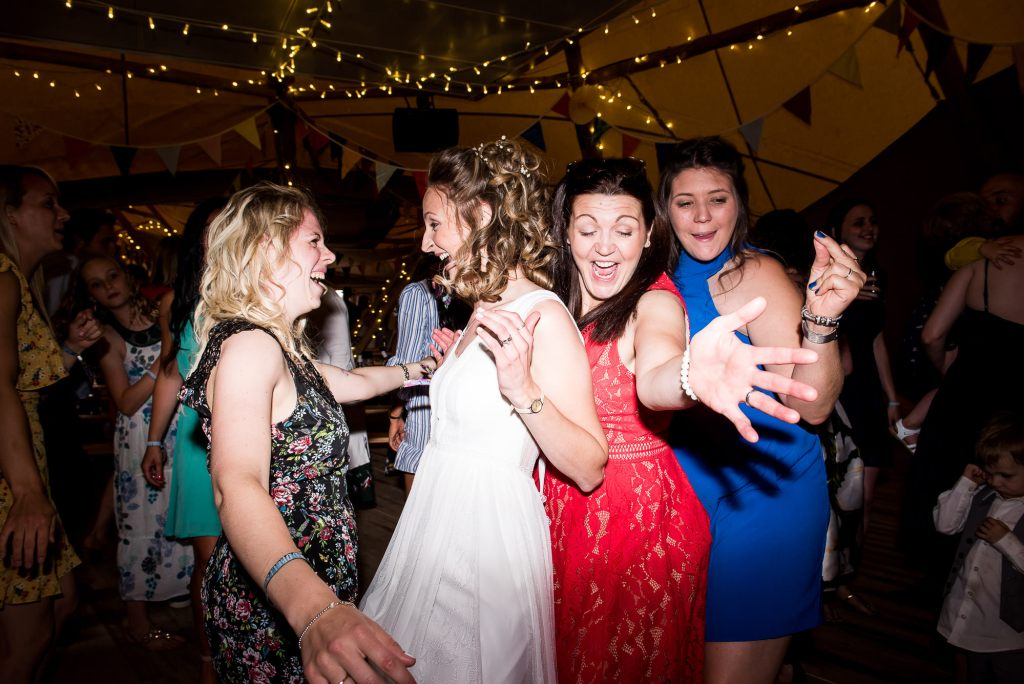 Inkersall Grange Farm Wedding - Same Sex Wedding Photography - Boho Brides Dancing With Guests