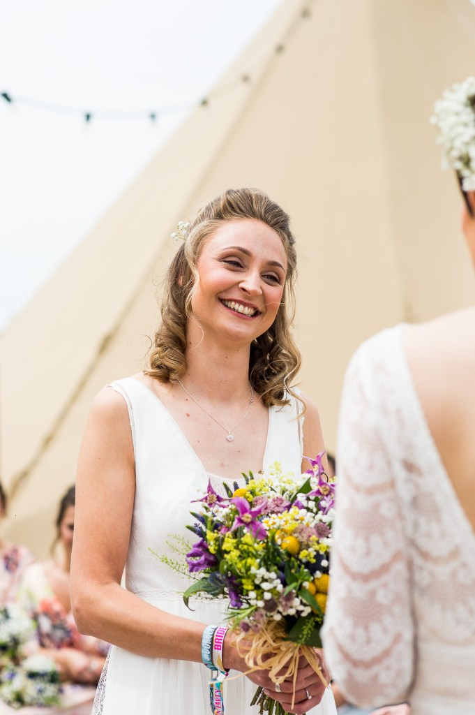 Inkersall Grange Farm Wedding - Same Sex Wedding Photography - Gorgeous Rembo Styling Bride with Wild Flower Bouquet