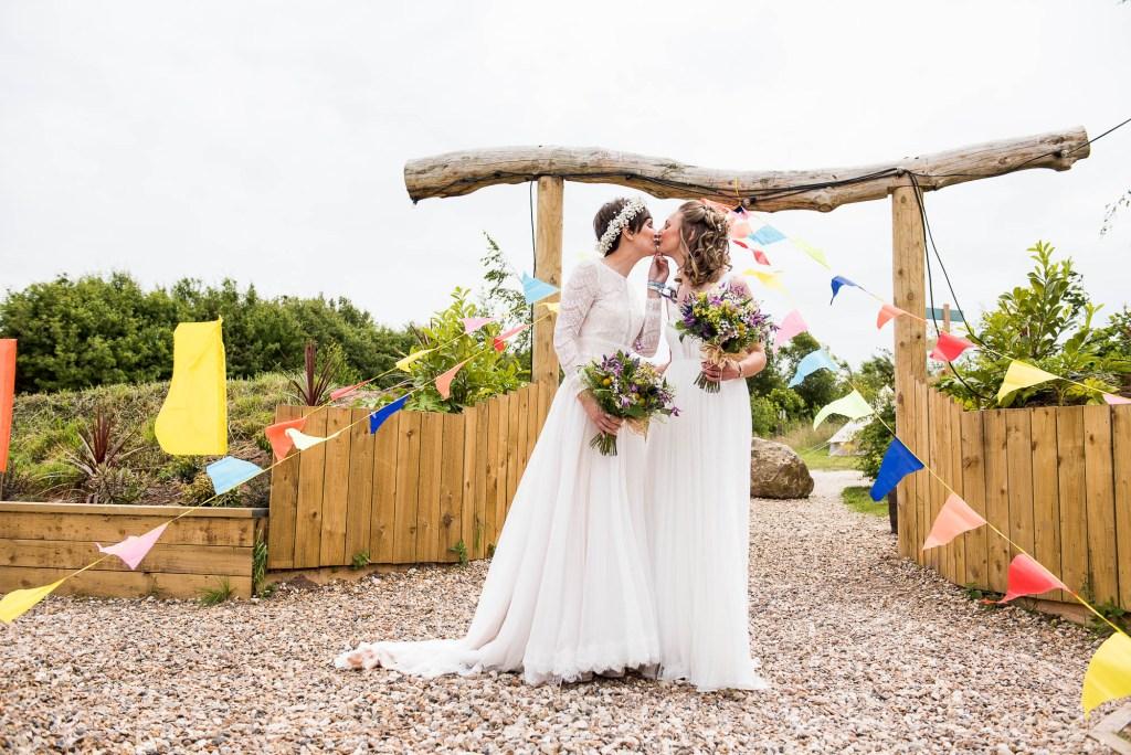 Inkersall Grange Farm Wedding - Same Sex Wedding Photography - Gorgeous Boho Brides First Kiss