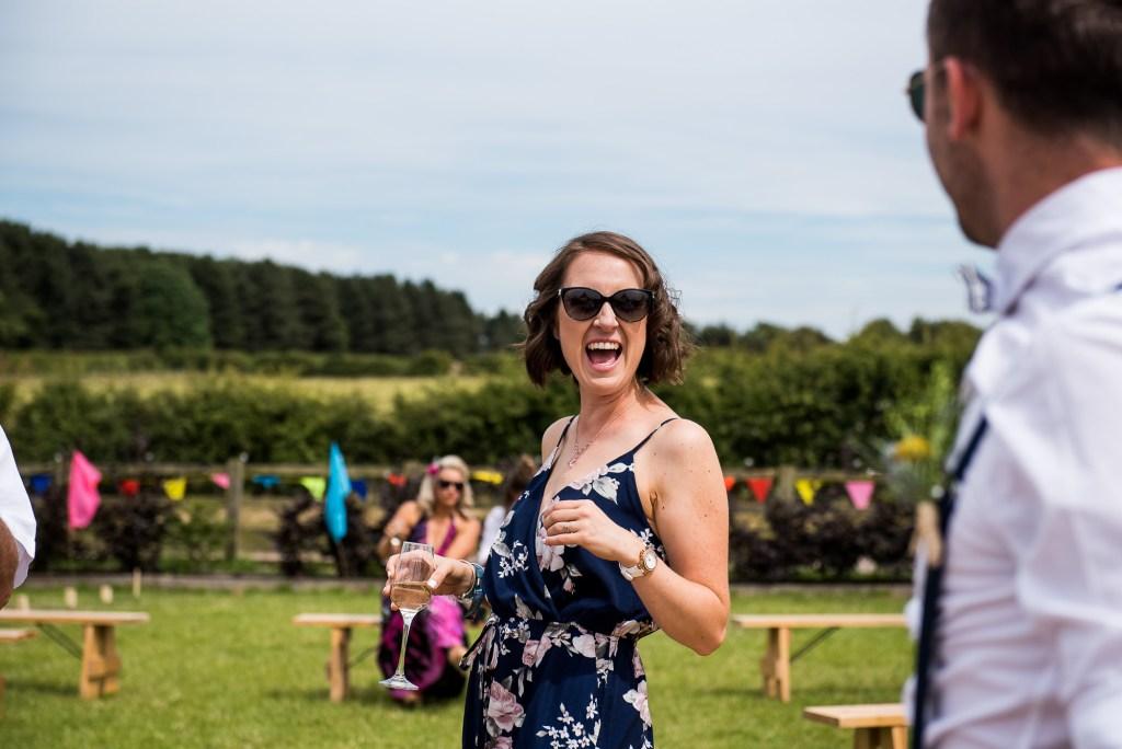 Inkersall Grange Farm Wedding - Same Sex Wedding Photography - Guests Mingling at Boho Wedding Reception