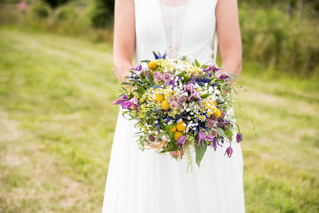 Inkersall Grange Farm Wedding - Same Sex Wedding Photography - Beautiful Boho Bride With Wildflower Bouquet