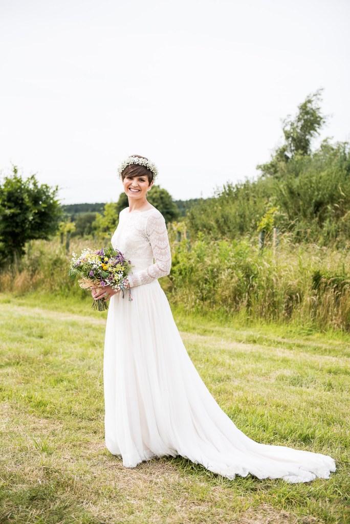 Inkersall Grange Farm Wedding - Same Sex Wedding Photography - Beautiful Boho Bride With Flower Crown