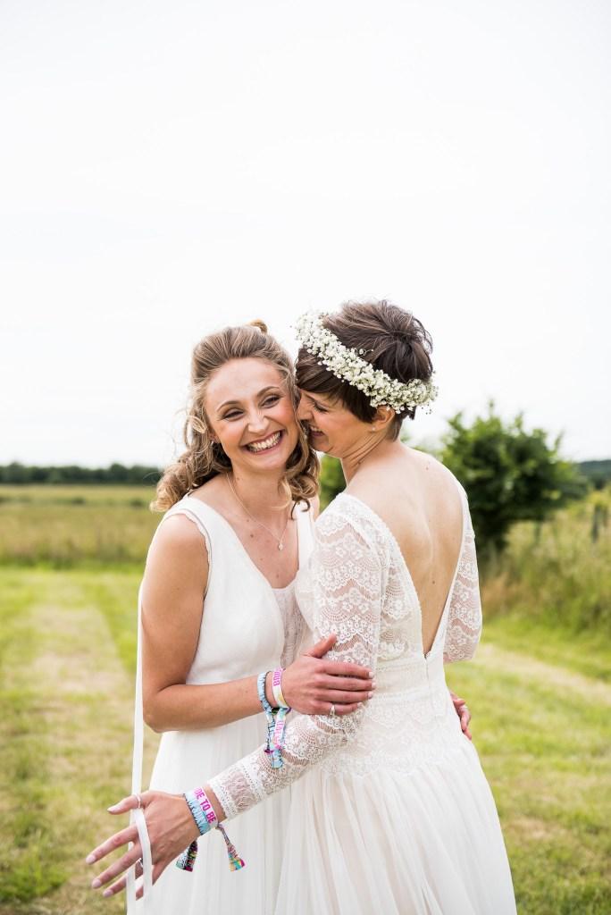 Inkersall Grange Farm Wedding - Same Sex Wedding Photography - Beautiful Boho Brides Natural Couples Portrait