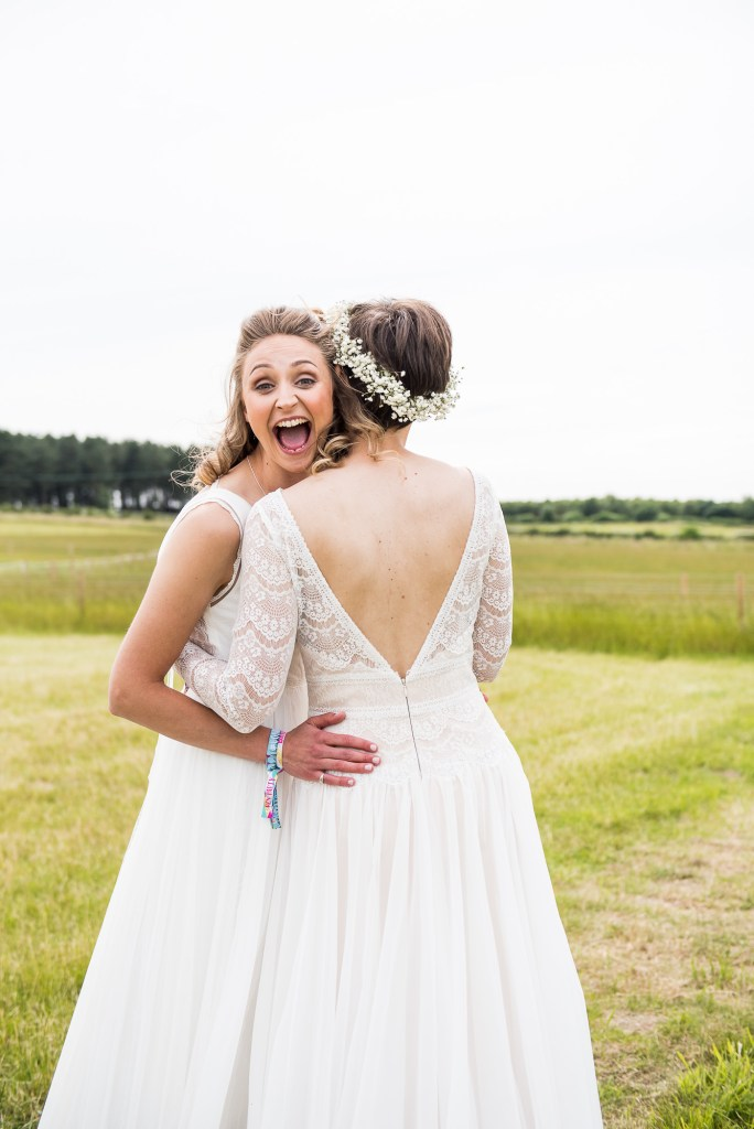 Inkersall Grange Farm Wedding - Same Sex Wedding Photography - Natural and Excited Bride