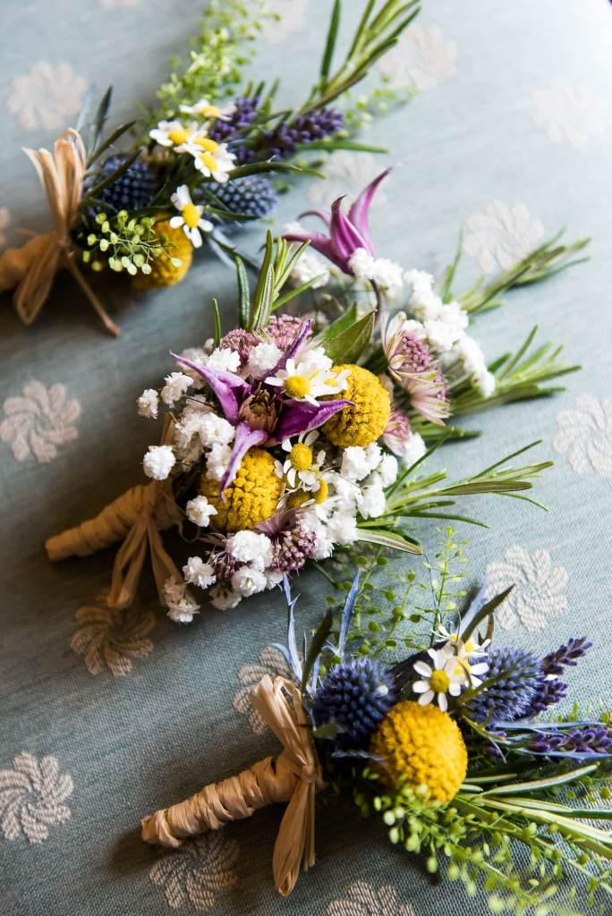 Inkersall Grange Farm Wedding - Same Sex Wedding Photography - Wild Flower Button Holes
