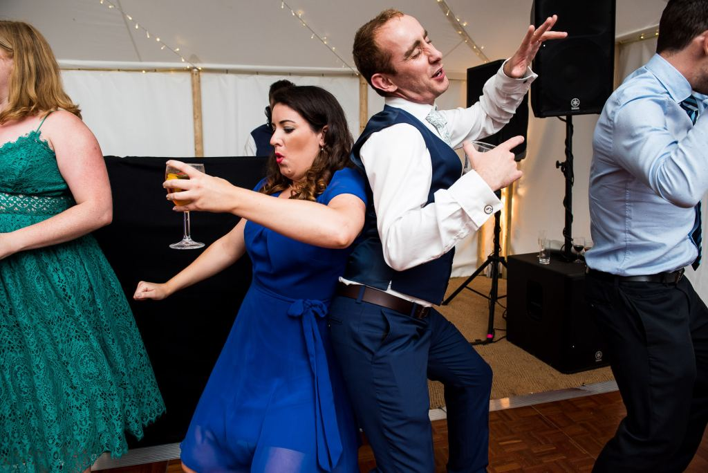 Outdoor Wedding Ceremony, Surrey Wedding Photography, Wedding Guests Dancing Lively and Energetic Dance Floor Photography