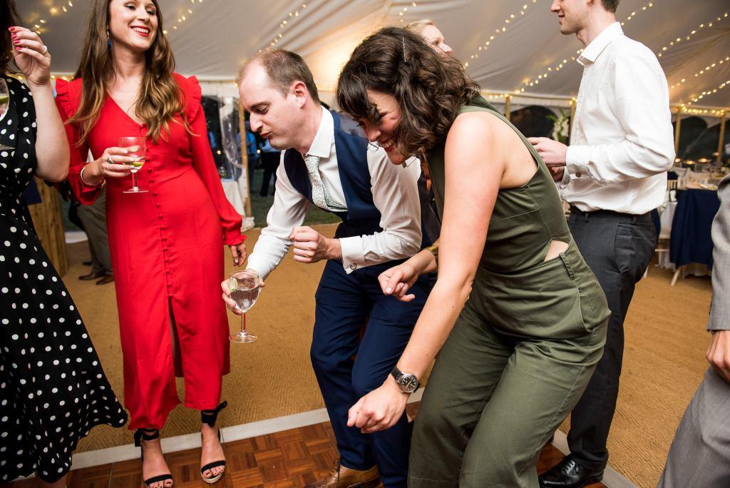 Surrey Wedding Photography, Wedding Guests Dancing Lively and Energetic Dance Floor Photography