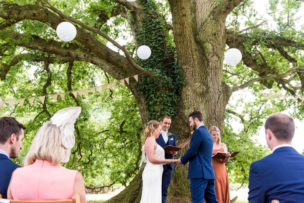 Outdoor Wedding Ceremony, Surrey Wedding Photography, Gorgeous Catherine Deane Bride and Groom in Outdoor Wedding Ceremony