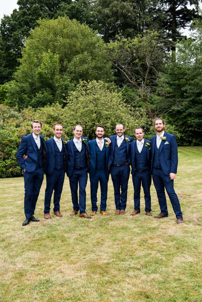 Outdoor Wedding Ceremony, Surrey Wedding Photography, Navy Blue Three Piece Suits For Groom and His Groomsmen