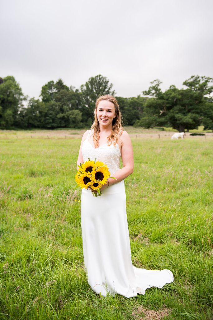 Stunning Catherine Deane Bride with Gorgeous Sunflower Bouquet