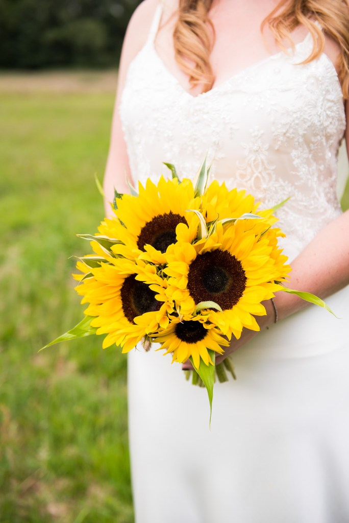 Outdoor Wedding Ceremony, Surrey Wedding Photography, Stunning Catherine Deane Bride with Gorgeous Sunflower Bouquet