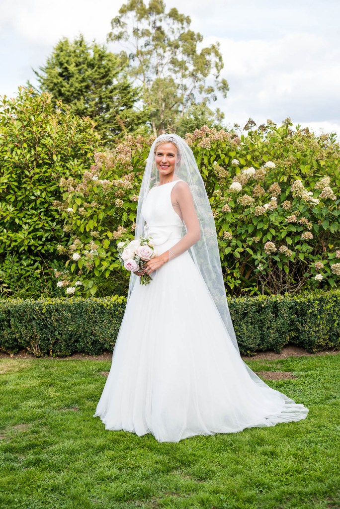 Outdoor Wedding Photography Surrey, Stunning Miss Bush Bride in Jesus Piero With Sheer Veil and Statement Bow
