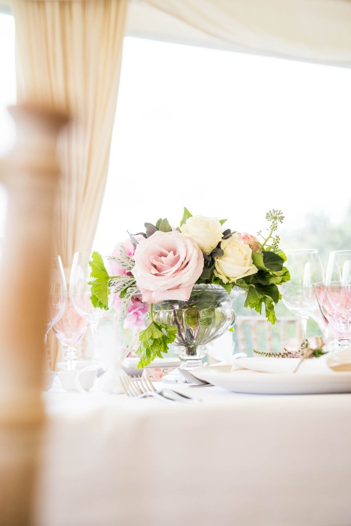 Outdoor Wedding Photography Surrey, Gorgeous White and Pink Rose Arrangement By Rosie Orr