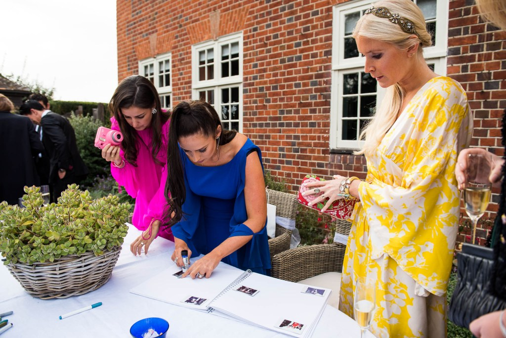 Outdoor Wedding Photography Surrey, Glamorous Wedding Guests Write In the DIY Guestbook