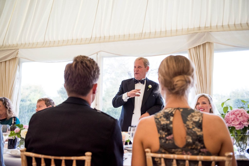 Outdoor Wedding Photography Surrey, Father Of The Bride Gives A Speech