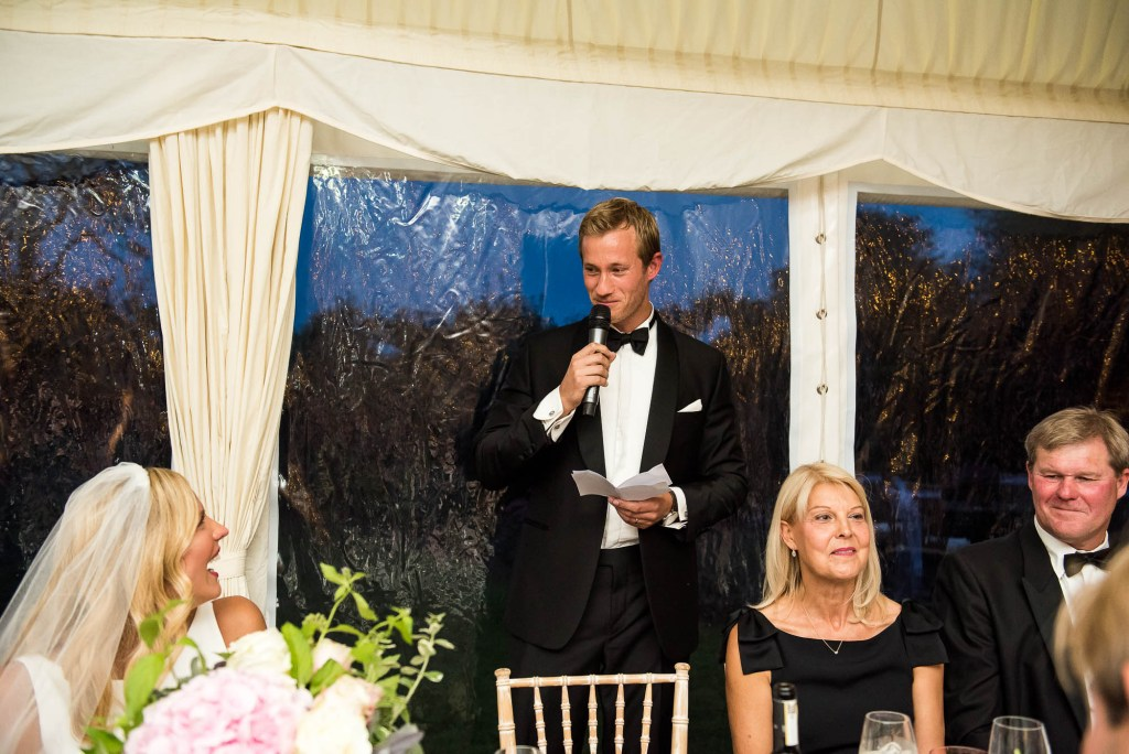 Outdoor Wedding Photography Surrey, Groom Giving a Speech To The Wedding Party