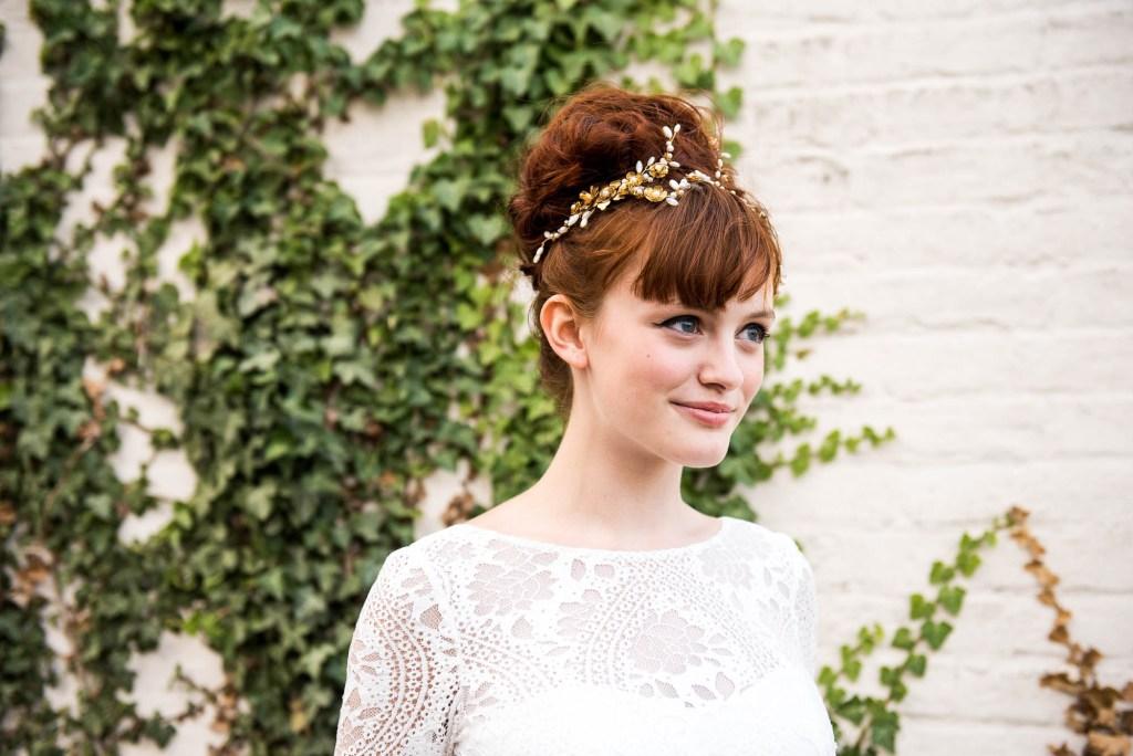 Miss Bush Bridal, Shiokba Bridal Boho Wedding Dress With Bespoke Golden Jewellery Head Piece, Surrey Wedding Photography