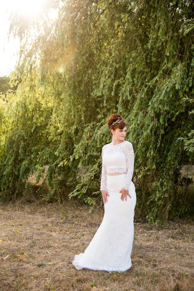 Miss Bush Bridal, Shiokba Bridal Boho Bride At Golden Hour In Front Of Willow Tree, Surrey Wedding Photography