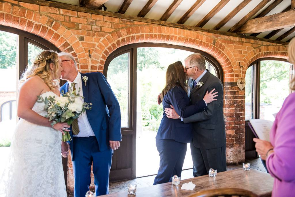 lgbt wedding photographer, Brides arrive at the alter with their fathers, Same Sex Wedding Ceremony