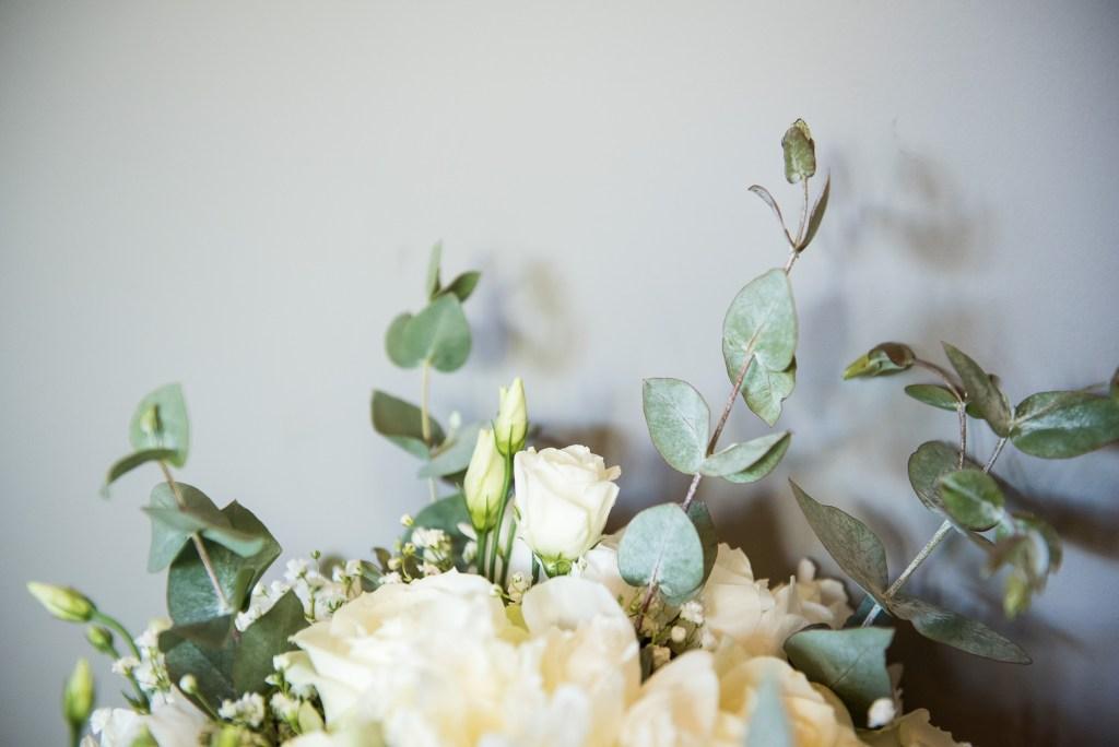 lgbt wedding photographer, White flower bouquet with botanical green foliage