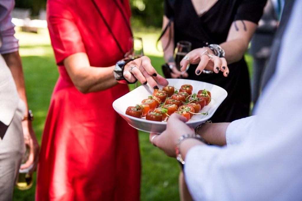 lgbt wedding photographer, guests enjoy gourmet canapés