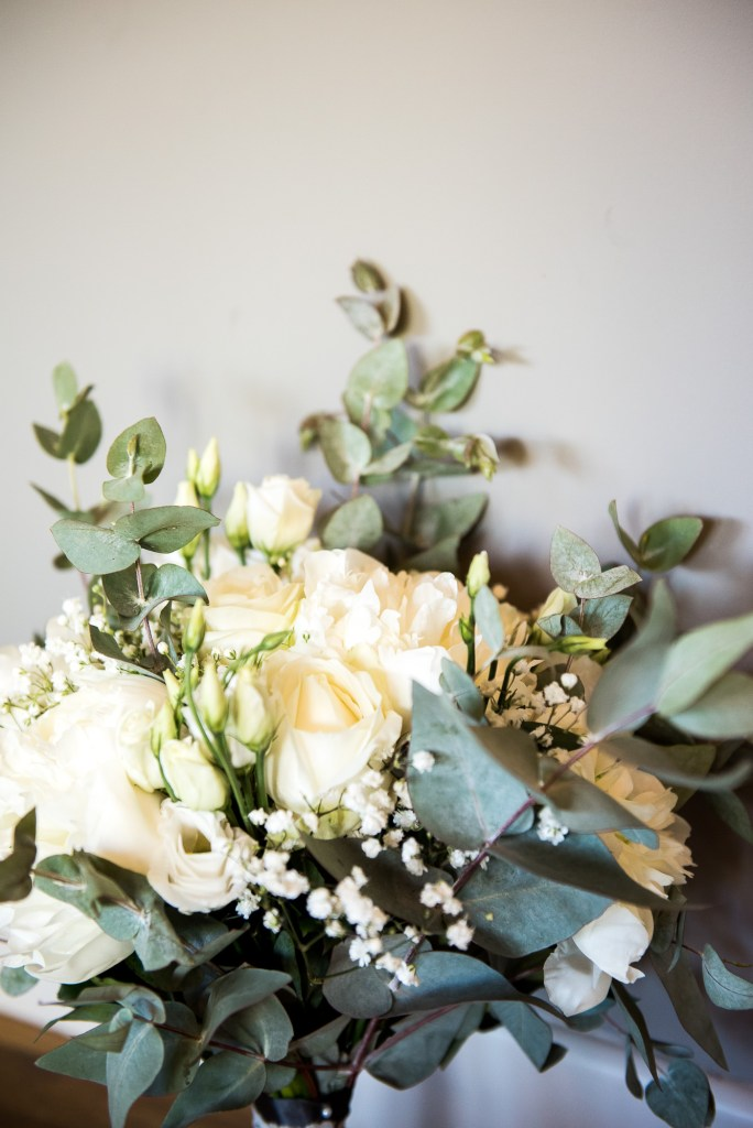 lgbt wedding photographer, White flower bouquet with botanical green foliage