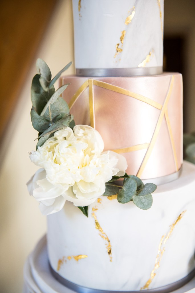 lgbt wedding photographer, modern white and gold marbled four tier wedding cake