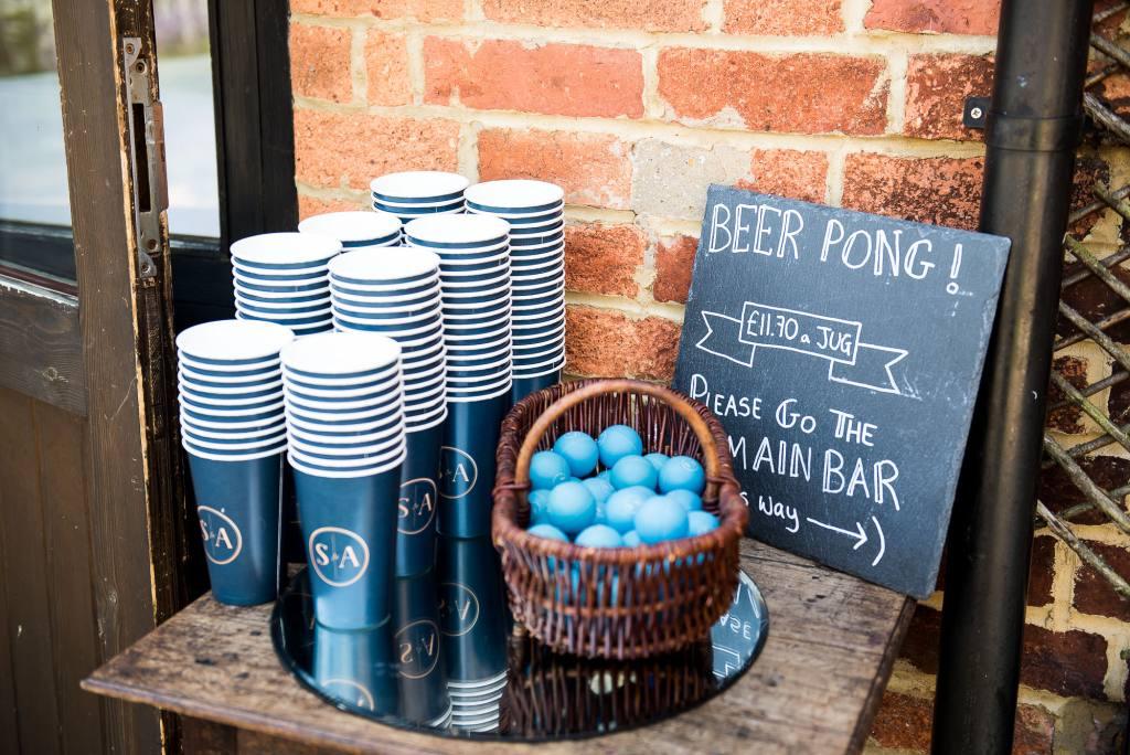 lgbt wedding photographer, personalised beer pong sign for wedding games, Dodmoor House Wedding