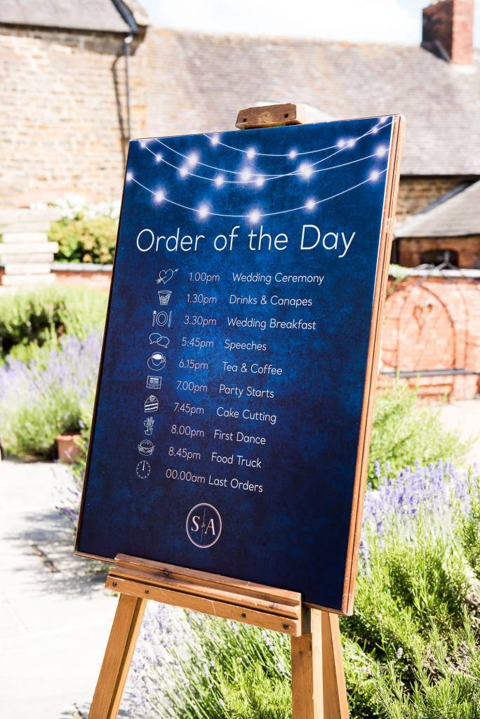 lgbt wedding photographer, Personalised Order of The Day With Dark Blue Background and Star Constellation Design