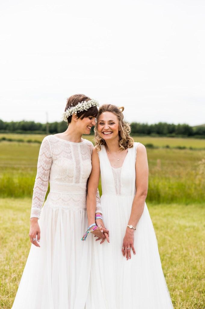 Alternative wedding photography - same sex wedding at Inkersall Grange Farm