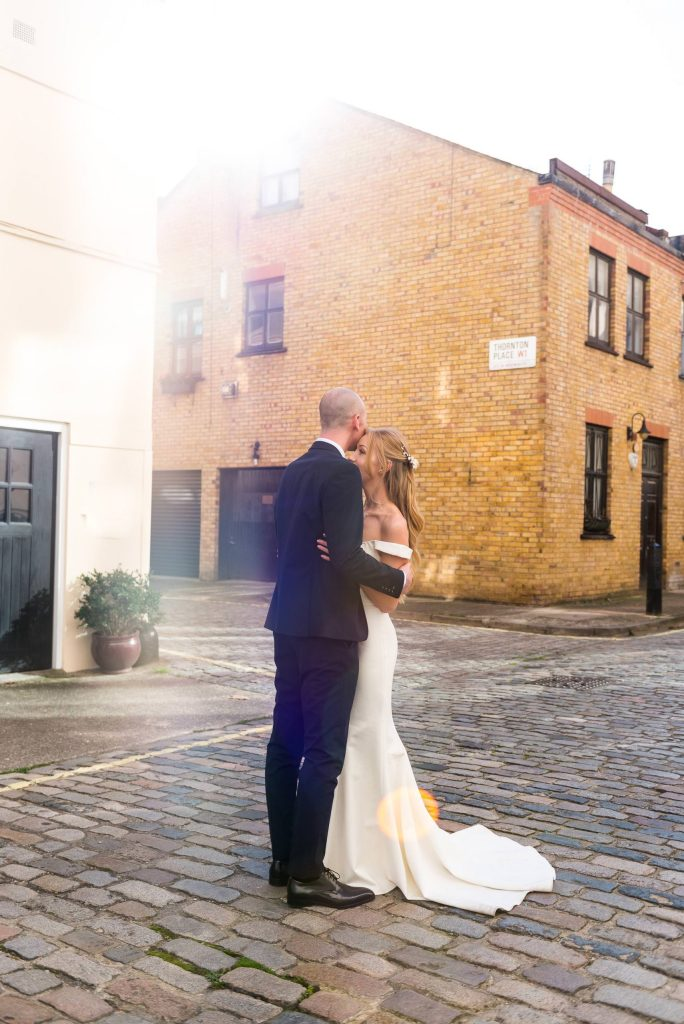 Old Marylebone Town Hall Wedding, sunset wedding portrait in a traditional London mews