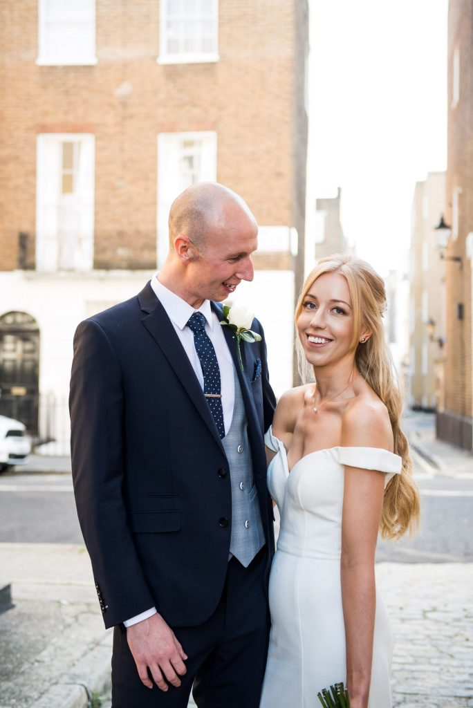 Old Marylebone Town Hall Wedding, relaxed and natural couples portrait