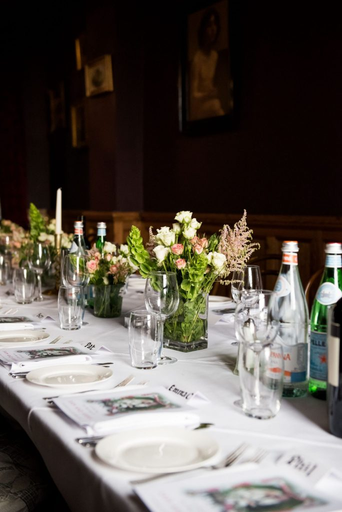 Old Marylebone Town Hall Wedding, wedding table decor with simple and elegant flower arrangements