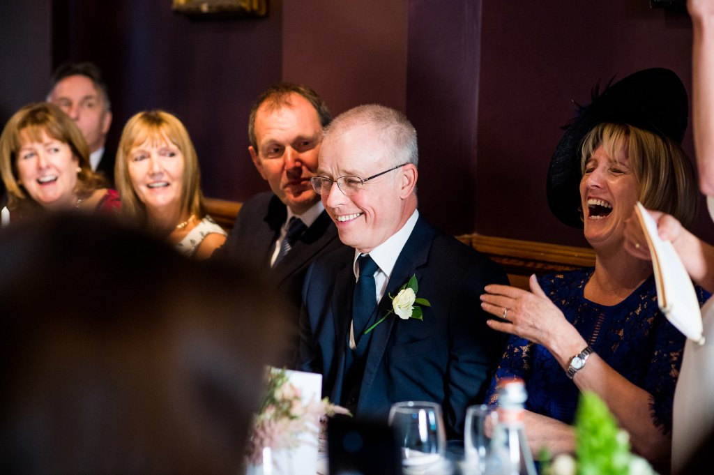 Old Marylebone Town Hall Wedding, candid guest reaction to wedding speeches